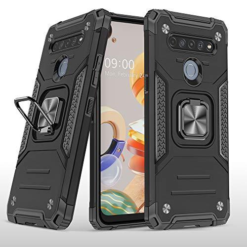 SORAKA Schutzhülle für LG K61 mit Metallringhalter stoßfeste Hülle weiche Silikonkante Harte PC-Rückseite mit Metallplatte für magnetische Handy-Autohalterung,Schwarz
