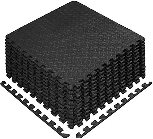 Bodenschutzmatte 60 x 60cm Schutzmatte Trainingsmatte Puzzlematte | Poolmatte | Unterlegmatten | Fitnessmatten für Bodenschut für Bodenschutz, Büro, Fitnessraum (Schwarz -16 Stück)