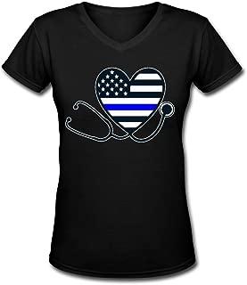 Strength Of Texas Thin Blue Line Nurse Stethoscope Nurses Support Woman Casual T Shirt Comfy Short Sleeve Top Tee V Neck