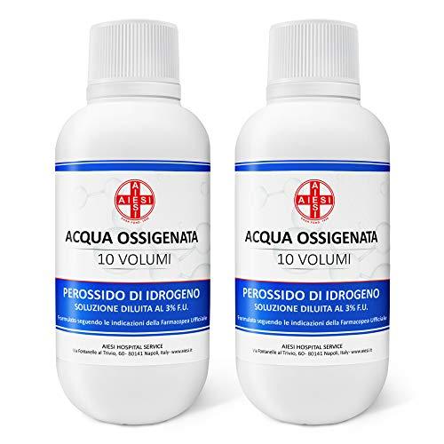 AIESI Eau Oxygénée désinfectante Ph. Eur. 3% 10 Volumes avec bouchon de sécurité pour enfants flacon de 250 ml (Paquet de 2 pièces) # Made in Italy