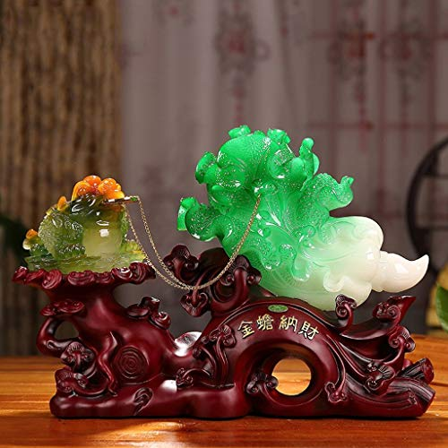 FACAZ Ornaments Lucky Gold Toad Money Jade Cabbage Sculpture Crafts Home Office Decorations Opening Gifts Resin (Color : B)