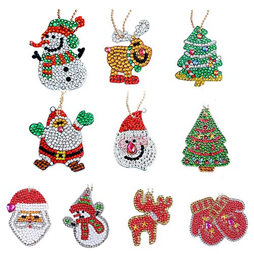 10 Pcs Rhinestone Keyrings Christmas DIY 5D Diamond Painting Kits Christmas Animals Crystal Arts Craft Key Chain for Women Girls Bag Purse Handbag Charms Pendant Xmas Gift (Style 1)
