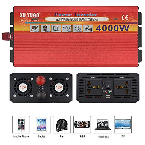 2000W 3000W 4000W Pure Sine Wave Power Inverter 12V/24V Dc to 220V Ac Car Converter with Ac Outlets and USB Ports,Outdoor Emergency Generator,24Vto220V-4000W