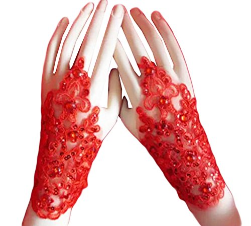 Élégantes Gants de mariage mariée cortège des gants de dentelle de robe-06