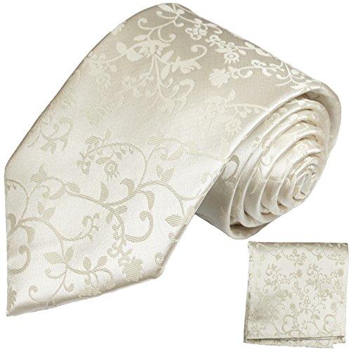 Cravate de mariage homme ivoire floral ensemble de cravate 2 Pièces ( 100% Soie Cravate + Mouchoir )