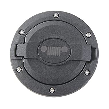 BORUIEN Matt Black Gas Tank Cap Cover Fuel Filler Door for 2007-2016 Jeep Wrangler JK 2/4 Door (A)