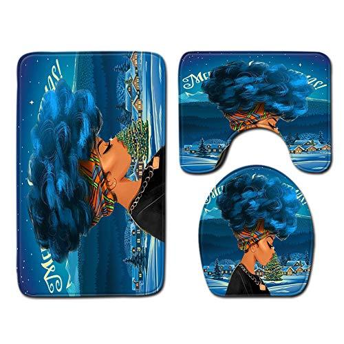 XRLTYY 3 Sets Bodenmatten-Badezimmer, Dreiteiliges Toilettenset, 3D Afrikanischen Frauen Drucken, Quadratische Türmatte, U-Förmiger Teppich, Toilettenmatte,C,50cmx80cm