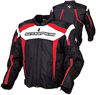 Scorpion Helix Men's Textile Sports Bike Racing Motorcycle Jacket - Black/Red / X-Large