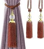 Alzapaños de cortina, alzapaños de cortina, cuerda de cristal Tssel decorativo con borlas para cortinas, tejidas a mano, 2 unidades