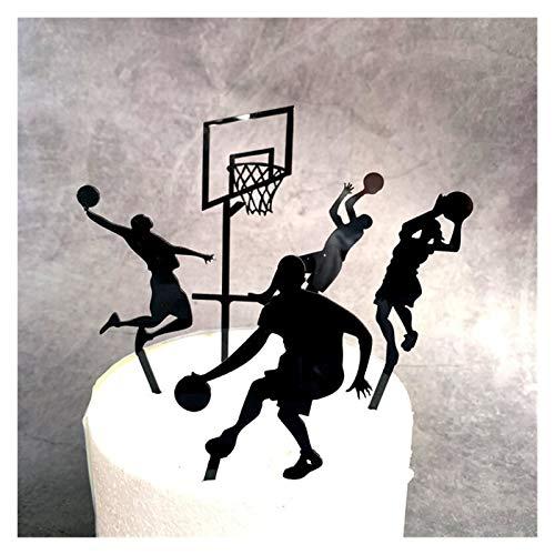 ZHJKK Pastel de fútbol acrílico Topper Creative Baloncesto Feliz Cumpleaños Banderas para Chico Cumpleaños Deportes Partido DIY Torta Decoración (Color : 5pcs a)