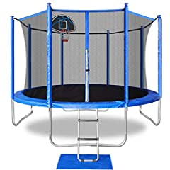 SAFETY FIRST-the frames are made by high quality galvanized tubes.Covered with thick safety pad for protection.The user weight is 330lbs WHAT'S INCLUDED:12FT trampoline delivered in 2 boxed which includes:Frame,legs,jumping mat,spring pad,enclosure n...
