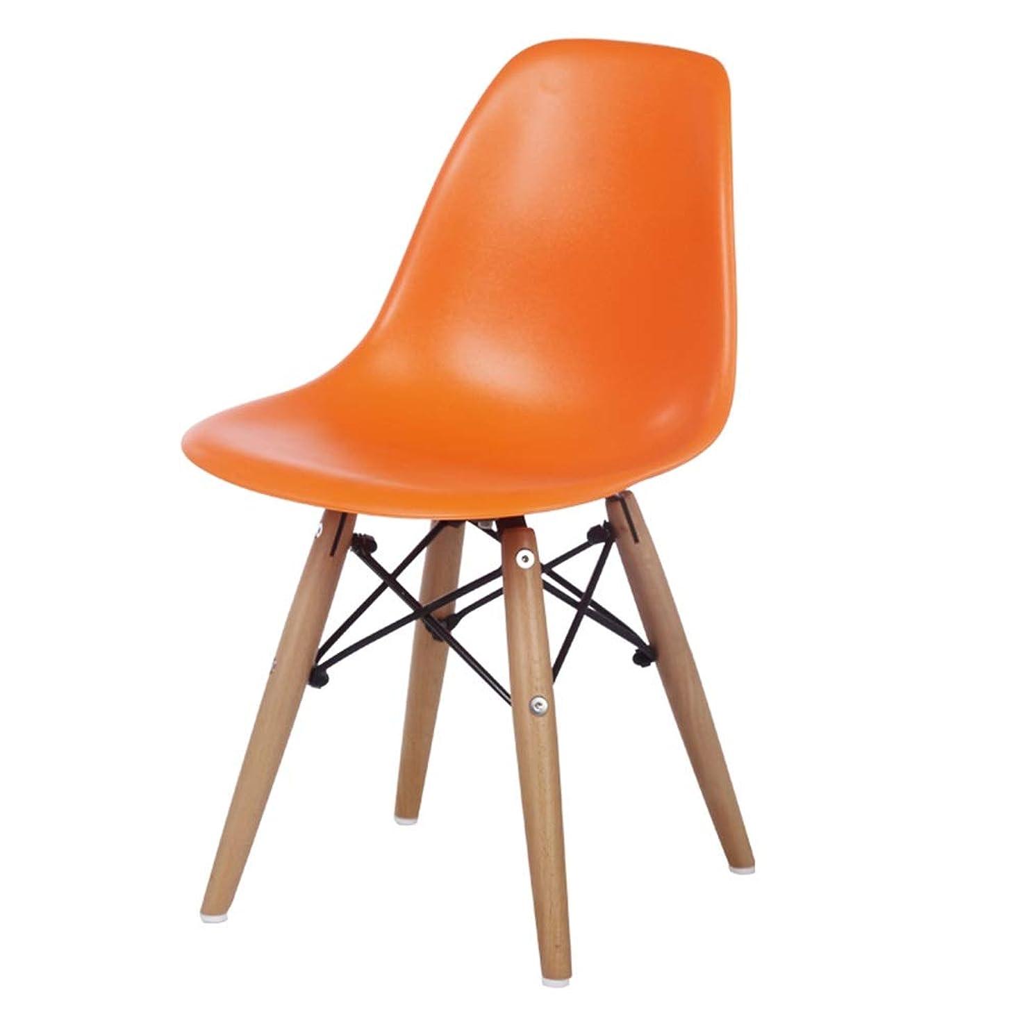 火山口径協力プラスチックスツール、シンプルな背もたれスツール、コンピュータチェア、純木のダイニングテーブルとチェア (色 : オレンジ)