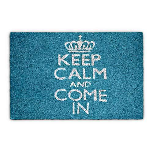 Relaxdays Fußmatte Kokos KEEP CALM 40 x 60cm Kokosmatte mit rutschfester PVC Unterlage Fußabtreter aus Kokosfaser als Schmutzfangmatte und Sauberlaufmatte Fußabstreifer für Außen und Innen Matte, blau
