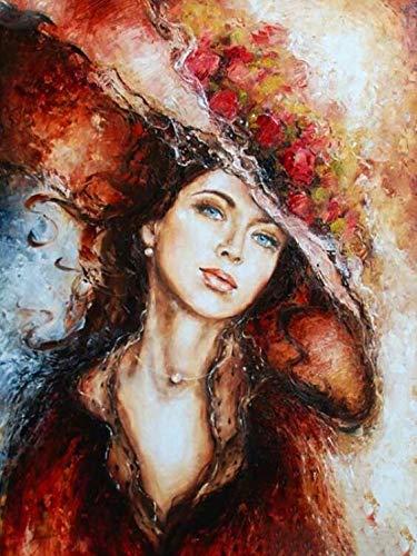 Pintar con Numeros,Mujer con Sombrero 40x50cm,Lienzo de Bricolaje Regalo de Pintura al óleo para Adultos niños decoración del hogar