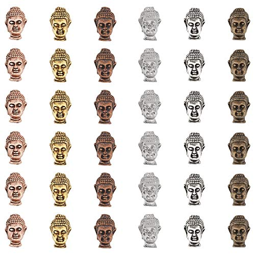 SUPERFINDINGS 36Pcs 6Colors Aleación Tibetana 3D Buddha Head Beads Charms Suministros para Manualidades Accesorio para Bricolaje Pulsera Collar Pendientes Joyería Resultados
