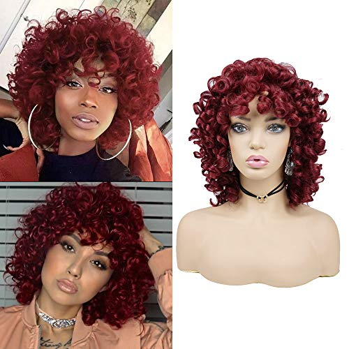 Short Afro Curly Synthetic Hair Wigs for Black Women Phoenixfly Red African Loose Curly Fluffy Shoulder Length Natural Looking Curly Hair Wigs Heat Resistant Hair Replacement Wigs with Wig Caps(Red)