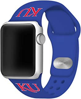 AFFINITY BANDS Kansas Jayhawks Silicone Watch Band Compatible with Apple Watch (38/40mm Blue) - Licensed NCAA Watch Band