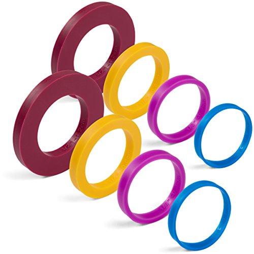 GreenOlive Nudelholz Führungsring Abstandhalter Bänder (8-teiliges Set) Mehrfarbiges flexibles Silikon Slip on Backzubehör passend für 4,5 cm bis 5,1 cm breite Teigrollen