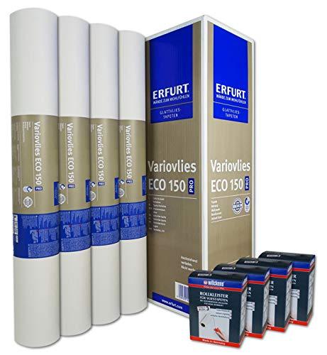 WACOLIT-SET 8 Rollen 150m² ERFURT Eco Vlies 150g + 8x Wilckens Rollkleister, Variovlies Malervlies überstreichbare Vliestapete