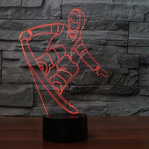 3d lampe,3D Snowboard Tischlampe Usb Visuelle Led Buntes Nachtlicht Schlaf Beleuchtung Skifahren Modellieren Leuchte Jahr Geschenke Dekor