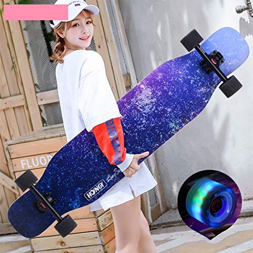 HLYT-Barhocker Skateboard Freestyle Longboard 7 Schichten Ahorn Deck Concave Cruiser Brush Street Board für Teenager Anfänger Mädchen Jungen Kinder Erwachsene