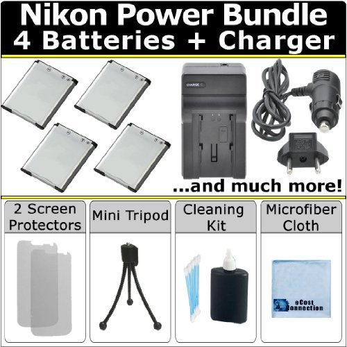ecost memory cards Complete Deluxe Starter Kit by eCost for Nikon Coolpix S7000 S33 S6900 S3700 S100 S2500 S2700 S2750 S3100 S3200 S3300 S3500 S4100 S4150 S4200 S4300 S5200 S6400 S6500 S6600 Camera + 4 EN-EL19 Batteries + AC/DC Turbo Charger w/ Travel Adapter