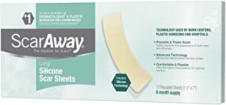 ScarAway Long Silicone Scar Treatment Sheets, Ideal for Larger and Longer Scars, 12 Multi-Use Adhesive Soft Fabric Strips, 1.5 in. x 7 in.