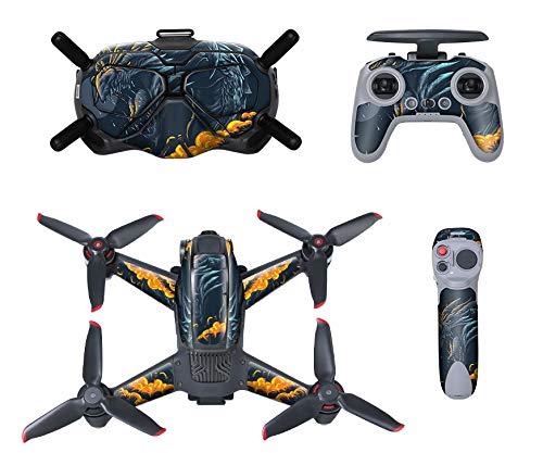 Fututech - Kit adesivi in PVC per DJI FPV rimovibile antigraffio impermeabile decorazione accessori Drone Goggles telecomando Joystick (Dragon