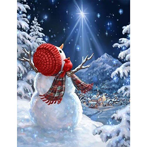 DIY 5D Christmas Diamond Painting Kits,CCOZN Full Drill Christmas Snowman Rhinestone Diamond Painting for Beginner Adults Diamond Arts Home Wall Decor, 15.8 X 11.8inch