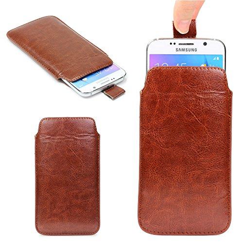 Urcover Universal Schutzhülle kompatibel mit 5,5 Zoll Handys Hülle Schale Pull Tab Etui Cover Case Braun