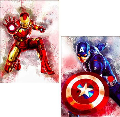 SHANFAA 2 Paket DIY 5d Diamant malerei Kits für Erwachsene Bohren, gemälde Bilder kunsthandwerk für zu Hause Wand-dekor, 5d malerei diamanten kit Iron Man und Captain America (30 * 40 cm)