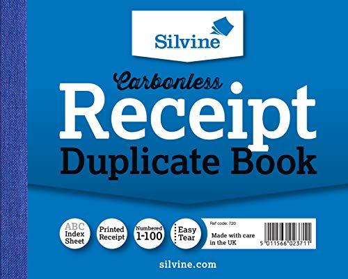Silvine 385106043 - Libro contable, 720 sin carbón 1-100 páginas numeradas, 50 hojas