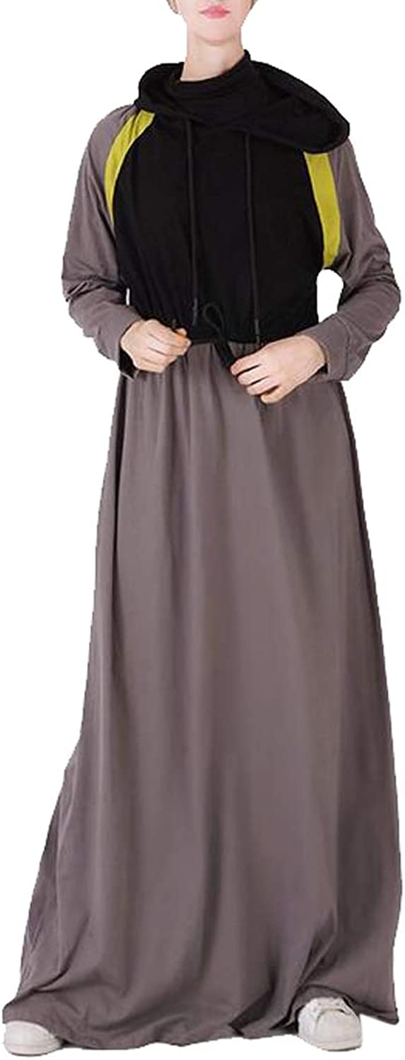Fensajomon Womens Muslim Casual Gym Workout Contrast Middle East Arabian Robes Maxi Dress