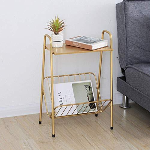 Moderna möbler soffbord soffbord soffbord, 2-nivå metall nattduksbord, soffa sidobord, sängbord med förvaringskorg, enkel montering - guld slutbord sidobord natt