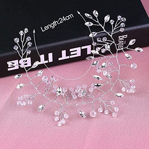 ASDAHSFGMN Brauthaarschmuck Hochzeit Haarschmuck Hand gesponnener Kristallperlen-Stirnband-Frauen-Mädchen-Haarband Kopfbedeckung Brautfrisur Schmuck (Metal Color : XT30 24cm Silver)