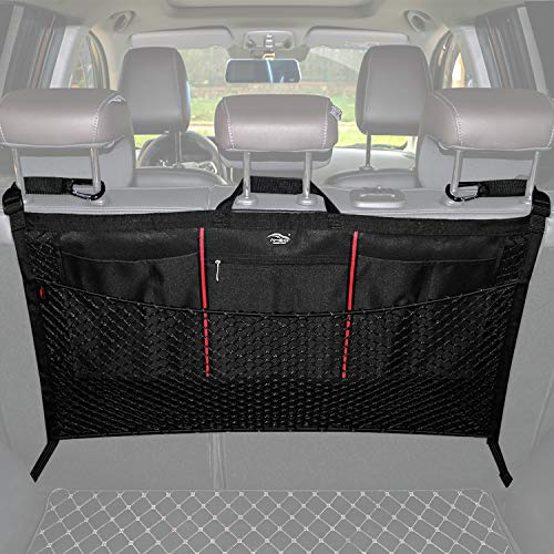 AMEIQ Car Trunk Organizer, Elastic Cargo Nets Bag, Seat Back Mesh Storage, Hanging Netting Holder for Toys Tools Cloth Groceries, Fit for Most SUVs, Patenting