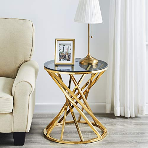 AINPECCA Round End Table Stainless Steel Coffee table with Light Grey Tempered Glass Design Living room (Gold, Round 50cm)