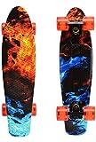 ChromeWheels Skateboards 22 inch Complete Skateboard Deck Mini Cruiser for Kids Boys Youths Beginners Adults, Fire