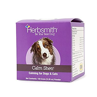 Herbsmith Calm Shen – Herbal Blend for Dogs & Cats – Natural Anxiety Remedy for Dogs & Cats – Feline and Canine Calming Supplement – 150g Powder