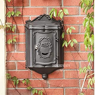 Vintage Retro Aluminium Alloy Mail Box Mailbox Metal Letters Post Box Wall Mounted Postbox Vintage Home Garden Yard (Color...