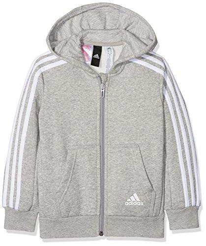 adidas Jungen 3 Stripes Fleece Full Zip Hooded Kapuzen-Jacke, Medium Grey Heather/White, 140