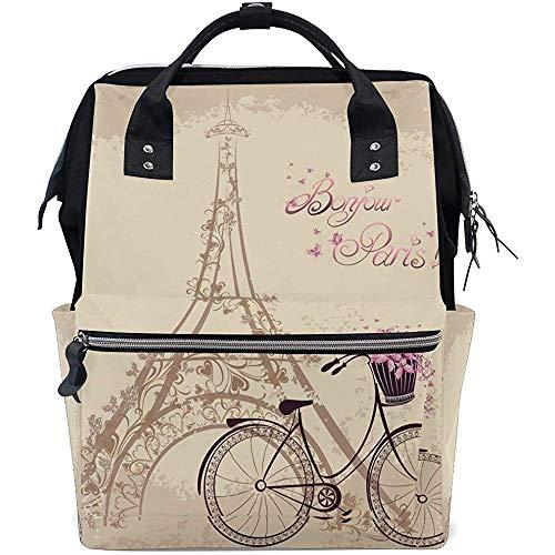 Schulranzen,Eifel Tower Fahrradtaschen Schultertasche Hilfreiche Reisetaschen Für Teenager Schulcamping 40Cm(H) X18(W) cm