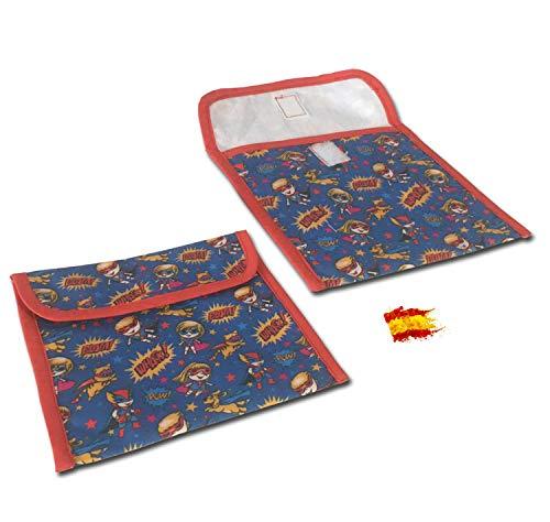 Bolsa para Mascarillas de Tela [ Superhéroes ] | Porta Mascarillas 100% Algodón | Guarda Mascarillas Unisex Niño o Niña | 14 x 17 cm