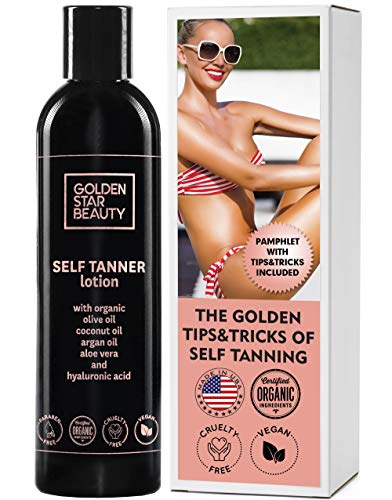 Self Tanner - Tanning Lotion w/ Organic & Natural Ingredients, Sunless Tanning Lotion for Flawless Light to Medium Tan, Self Tanning Lotion - Self Tanners Best Sellers, Fake Tan