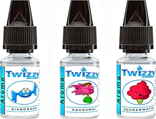 3 x 10ml Twizzy® Sweets Aroma Bundle - Eisbonbon, Kaugummi, Zuckerwatte - Aroma für Shakes, Backen, Cocktails, Eis - Aroma für Dampf Liquid und E-Shishas - Ohne Nikotin 0,0mg - Flav Drops