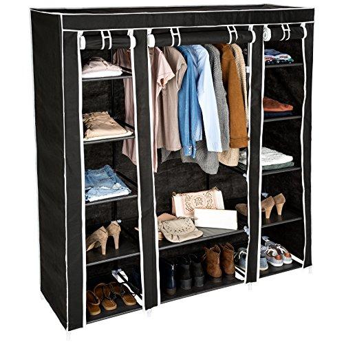 TecTake Kleiderschrank Stoffschrank Garderobe Faltschrank mit Kleiderstange & 12 Fächern | 150 x 175 x 45 cm | -Diverse Farben- (Schwarz | Nr. 402528)
