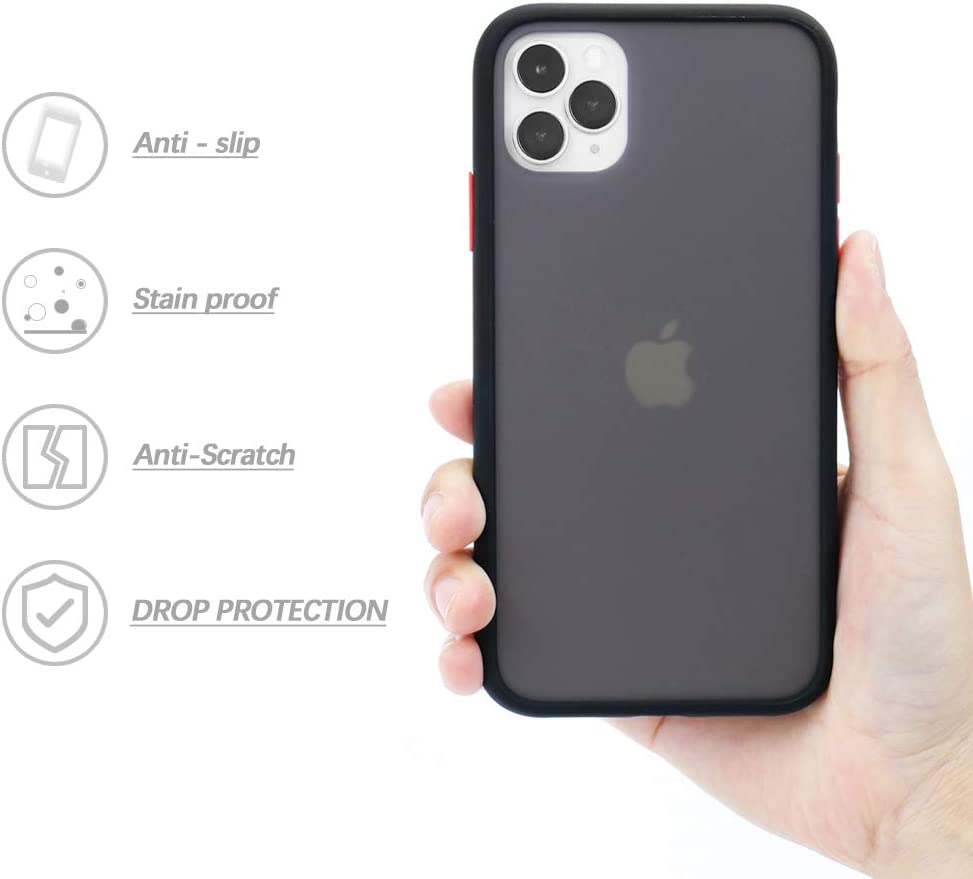 LITTLETREE Compatible with iPhone 11 Pro Max Case Matte,Translucent Matte PC with Silicone Bumper Protective Cell Phone Case 6.5 Inch. (Black)