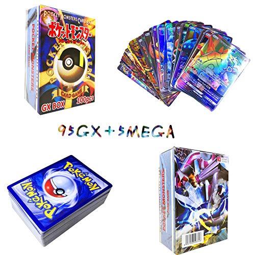 Sinwind 100 Pezzi Pokemon Carte, Pokemon Carta Iniziale, Carta Collezionabile, Pokemon Flash Carte, Puzzle Divertente Gioco di Carte (95GX + 5Mega)