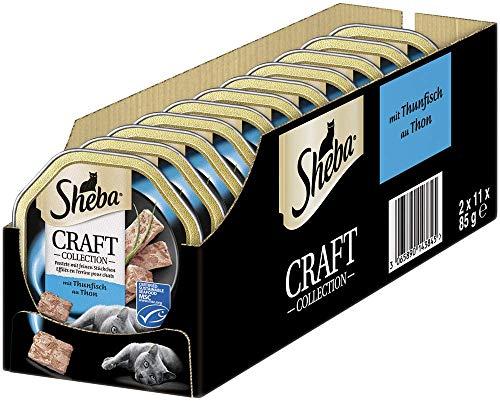 Sheba Katzenfutter Nassfutter Craft Collection Pastete mit feinen Stückchen mit Thunfisch (MSC), 22 Schalen (22 x 85g), x 1870 g