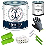 Bootslack SEIDENMATT für Holz und Metall Weiß RAL 9010 Weiß Yachtlack Yachtfarbe Bootsfarbe mit Lackier-SET (X300) und Verdünnung (1 L) // Hamburger Lack-Profi (2,5 L)